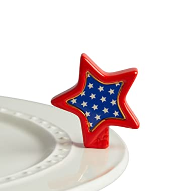 Nora Fleming Hand-Painted Mini: Sparkly Star (Red, White, Blue Star) A219