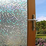 3D Mosaic Window Film Decorative Privacy Window Film Frosted Stained Glass Window Film Window Sticker Glass Film Window Decals No-glue Static Window Clings for Home Office (L-35.4''x78.7'', 1#)