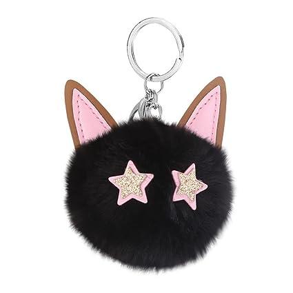 Amazon com: Gbell Women Puffy Pompom Key Chains -Cute Cat