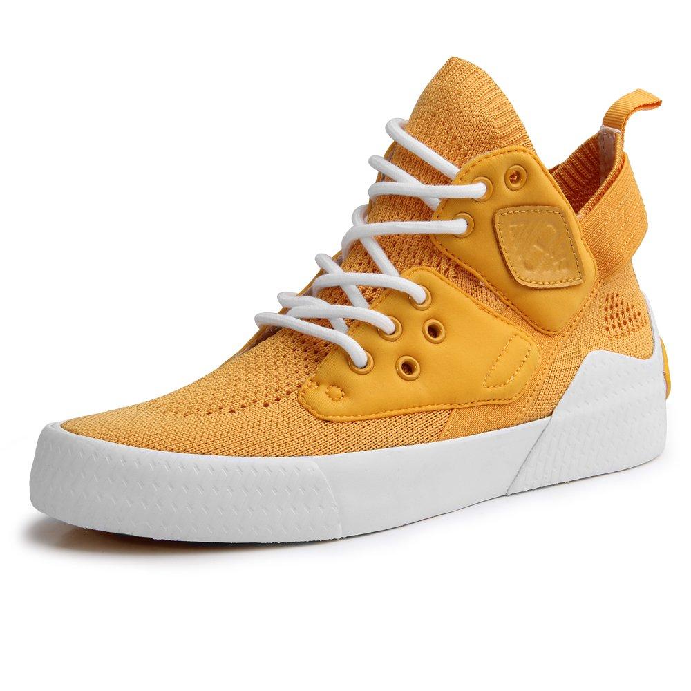 TWEAK Women's High Top Fashion Summer Breathable Flyknit Sneaker Yellow 8.5M US