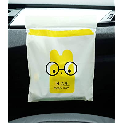 PME PIVOFUL MOBILE ENHANCEMENT 30pcs Car Trash Bag, Biodegradable & Compostable Garbage Bag Rubbish Bin Bag Car Trash Bin Gag Disposable Container Bag for Office Babyroom Bathroom Study Room - Yellow: Automotive