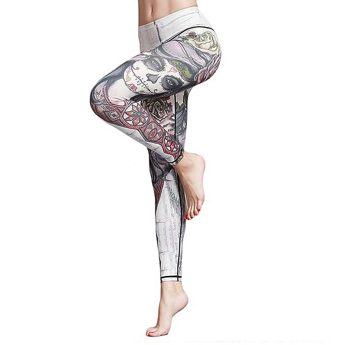 05dc4b957a13 DAYU Damen Sport Leggings Piratengirl Muster YOGA Fitness Hose Sport Running  Hose  Amazon.de  Bekleidung