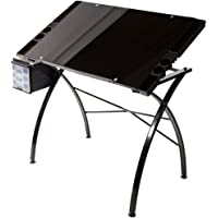 Martin Dezign Line Drawing Table, Black with 23.6 x 35.6 Inch Tempered Glass Top, 1 Each (U-7500G)