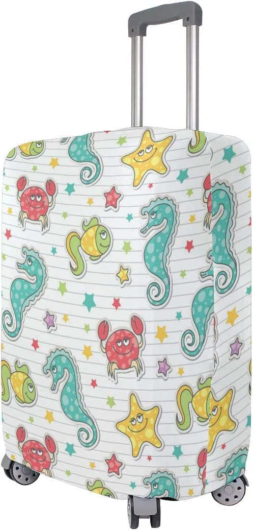 Pattern Of Sea Creatures Travel Luggage Protector Case Suitcase Protector For Man/&Woman Fits 18-32 Inch Luggage
