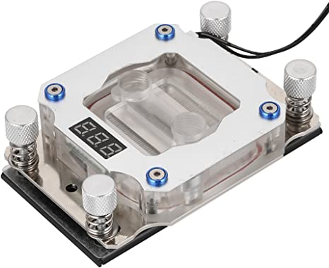 Bloque de Enfriamiento de Agua con Pantalla de Temperatura para Intel Bewinner Bloque de Refrigeraci/ón por Agua de CPU de Computadora