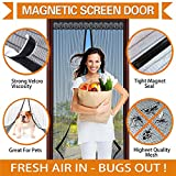 Magnetic Screen Door - Frmarch Magic Mesh with Heavy Duty & Full Frame Velcro Fits Door Opening up to 34