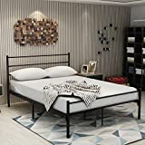Metal Queen Bed Frame With Headboard and Footboard Mattress Foundation Box Spring Replacement Steel Slat Support Black