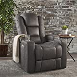 Everette Power Motion Recliner with USB Charging Port & Hidden Arm Storage, Assisted Reclining Furniture for Elderly & Disabled – Durable Tufted Slate Microfiber, Comfortable, Easy to Clean
