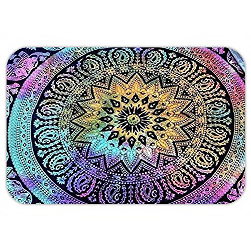 Fitness Theme Wear Costumes (VROSELV Custom Door MatPopular Tye dye Elephant Mandala Round Roundie Beach Throw Indian Hippie Yoga Mat Décor urban round table cloth by Popular Handicrafts)
