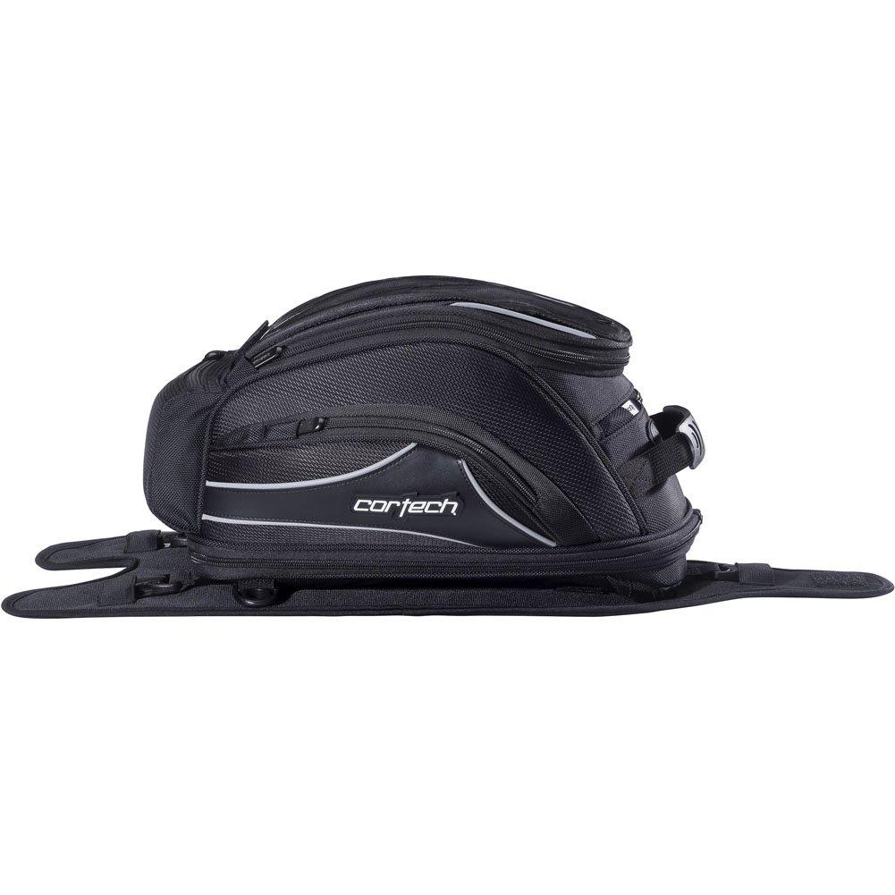 One Size Black Strap Mount Cortech Super 2.0 18-Liter Motorcycle Tank Bag