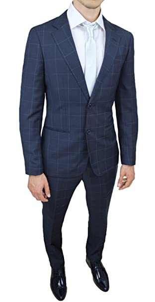 Abito Completo Uomo Sartoriale blu fantasia quadri slim fit aderente nuovo elegante  cerimonia (44) ... 8c1d1e50659