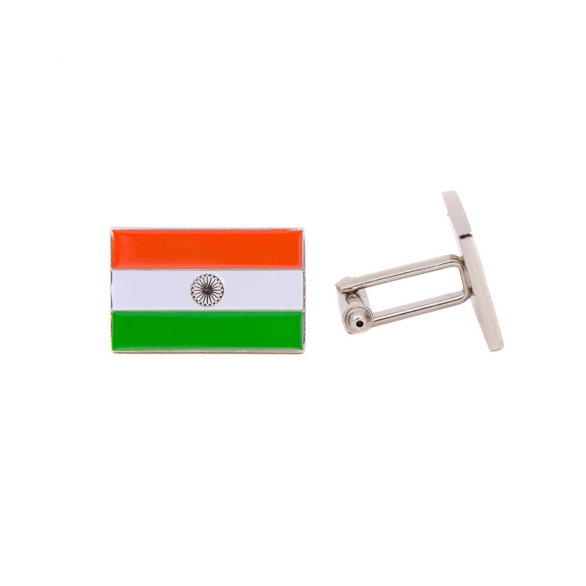 Desert Cactus India Rectangle Country Flag Cufflinks Formal Wear Blazer For French Cuff Shirt Indian