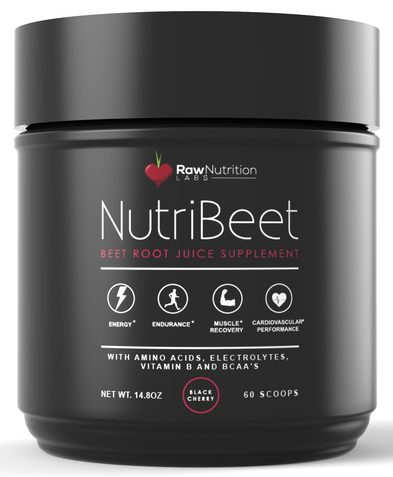Raw Nutrition Labs NutriBeet Nitric Oxide Optimizer Organic Beet Root Juice Powder with Amino Nitrate Matrix, Electrolytes, Vitamin B Energy Boost & BCAA Recovery Support (60 scoops), 14.8 oz