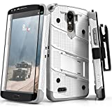 Zizo BOLT Series compatible with LG Stylo 3 Case Military Grade Drop Tested with Tempered Glass Screen Protector, Holster, Kickstand WHITE GRAY