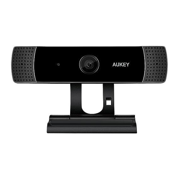 AUKEY Webcam 1080P Full HD mit Stereo Mikrofon, PC Kamera für Video Chat und Aufnahme, Kompatibel mit Windows, Mac und Androi