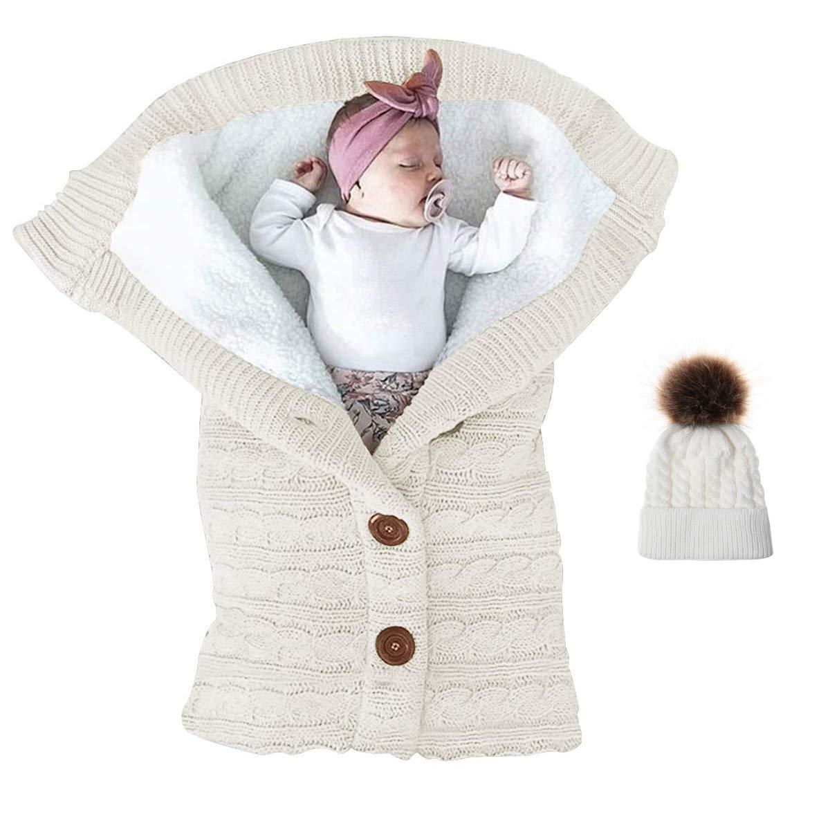 White Paisdola Conjunto de manta y sombrero Swaddle Saco de dormir infantil con envoltura de cochecito de vell/ón