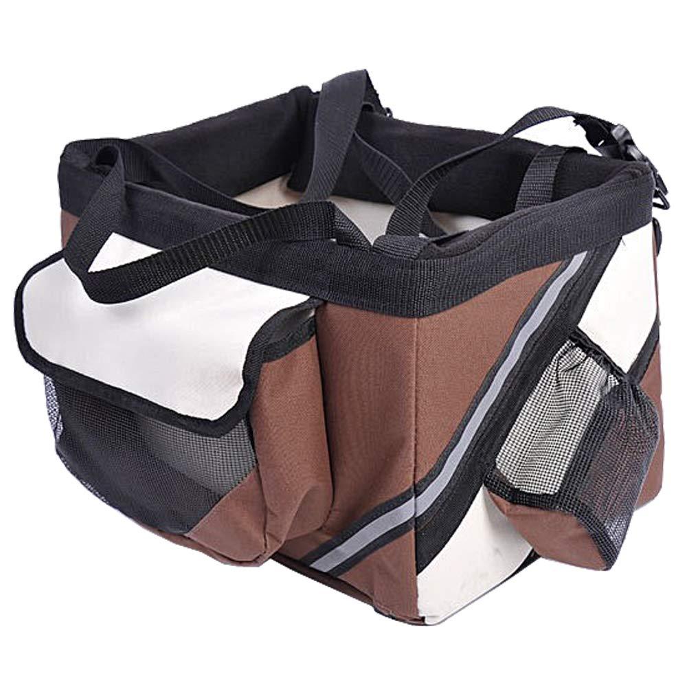 Pagacat Pet Cat Dog Bike Basket Bag Travel Safety Belt Front Bicycle Carrier Brown(US Stock)