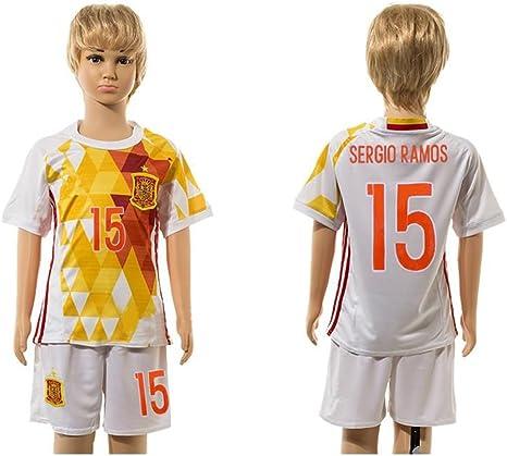 2016 2017 Super Popular España 15 Sergio Ramos de distancia para niños Kid jóvenes conjuntos de camiseta de fútbol en blanco, Infantil, blanco, large: Amazon.es: Libros