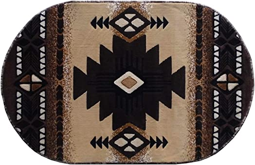 South West Native American Oval Area Rug Design C318 Berber 3 Feet x 4 Feet 8 Inch