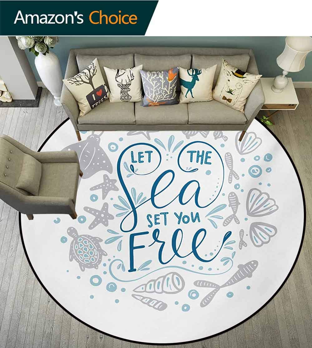 RUGSMAT Nautical Round Area Rugs,Let The Sea Set You Free Quote with Shellfish Turtle and Stingray Super Soft Living Room Bedroom Home Shaggy Carpet,Round-71 Inch Pearl Navy Blue Pale Blue