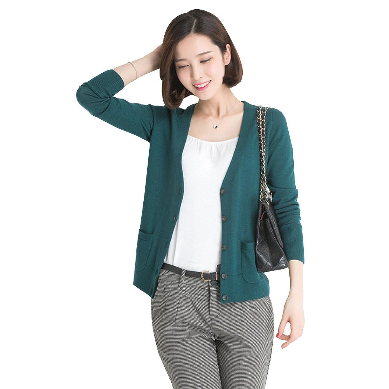 Ilishop Women's Single-breasted Thin Pocket Knitted Cardigan Long Sweaters