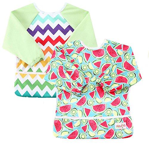 OHBABYKA Toddler Baby Waterproof Sleeved Bib, 6-24 Months (Stripe & ()