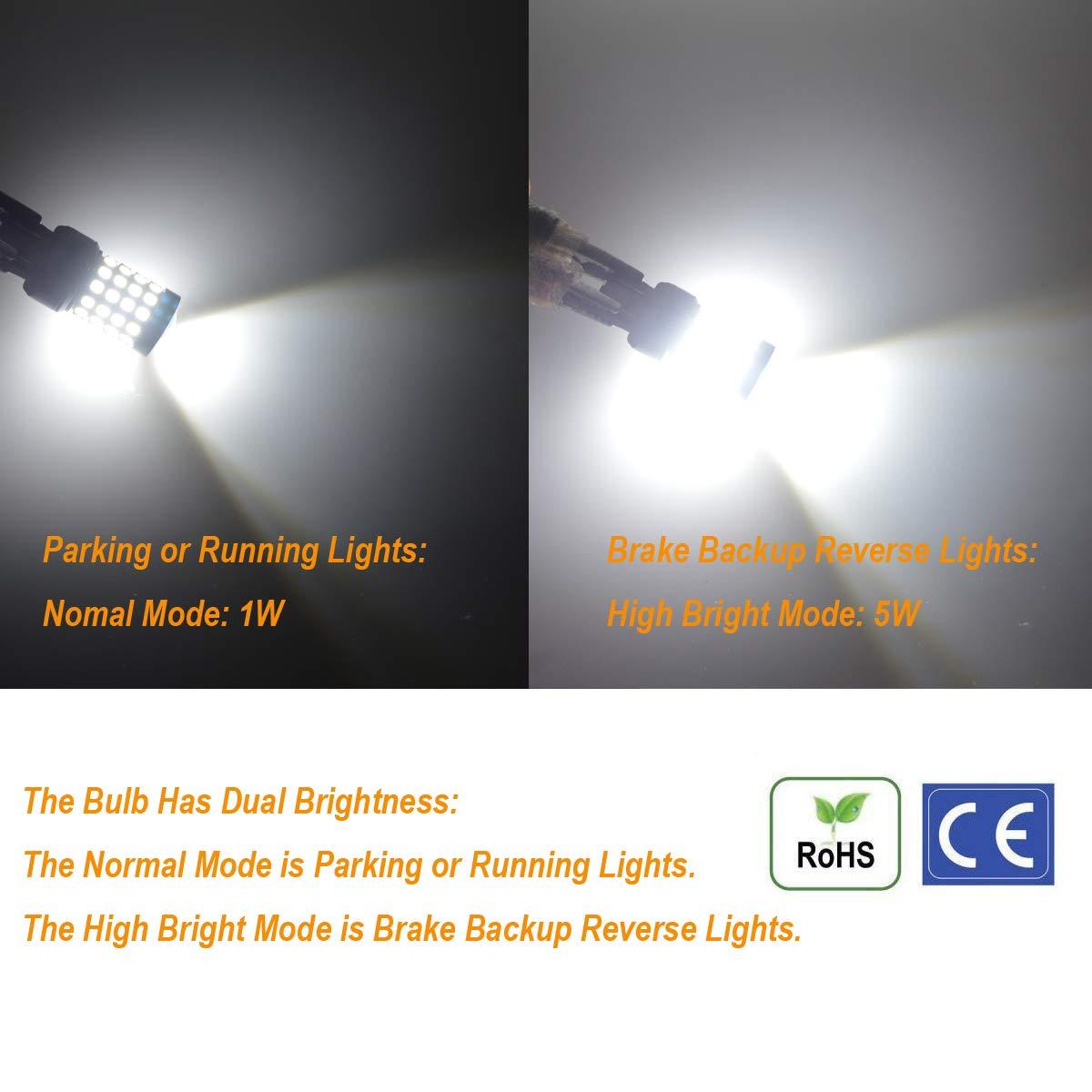 Xenon White Nakobo 1000 Lumen Back Up Tail Light T20 W21W 7440 LED Bulb Smart IC 9-30V Reverse Fog Lamp Pack of 2 7440-48+4W-10-30V
