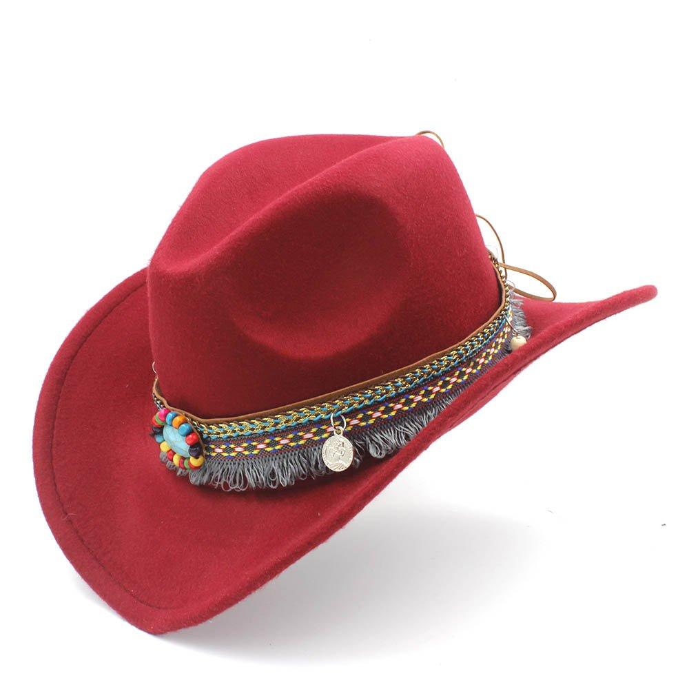 MUMUWU Women's Western Cowboy Hat for Lady Tassel Felt Cowgirl Sombrero Caps (Color : Wine red, Size : 56-58cm)
