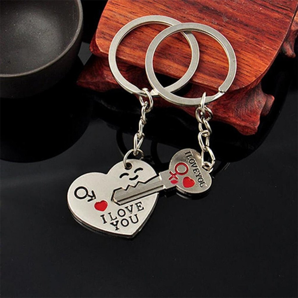 Rockia Keychain With Letter I Love You Gift Valentines Day Silver Key Set Accessories