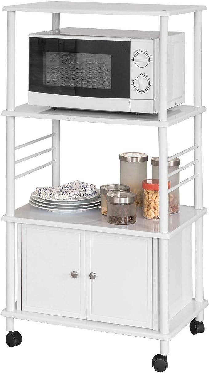 SoBuy® FRG13-W Meuble de Rangement Cuisine Roulant Chariot de Cuisine de  Service Micro-Ondes Desserte Micro-Onde à roulettes en Bois