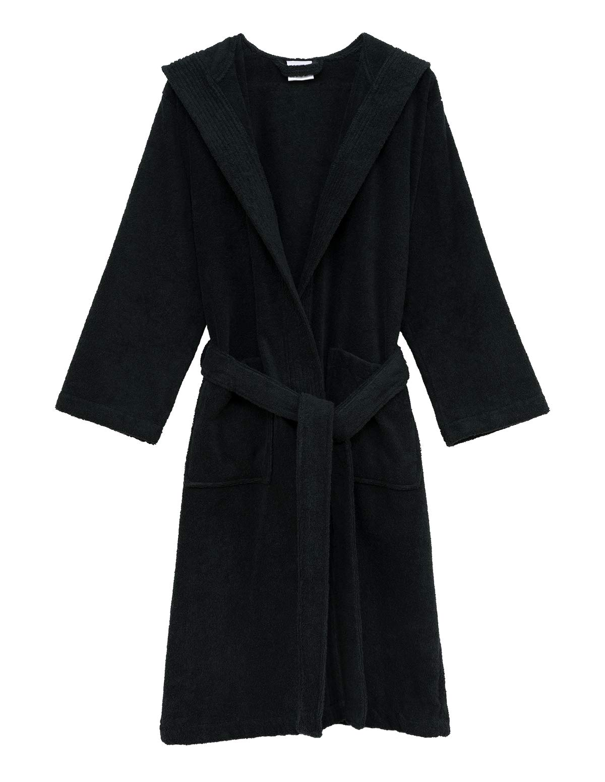 TowelSelections Men's Robe, Turkish Cotton Hooded Terry Bathrobe Large/X-Large Black
