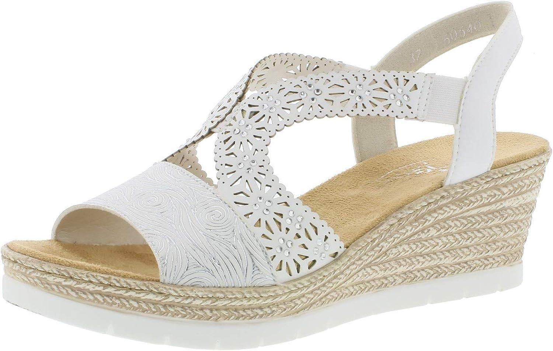 Rieker 61916 Mujer Sandalias de cuña,Zapatos del Verano,cómodo,Plana