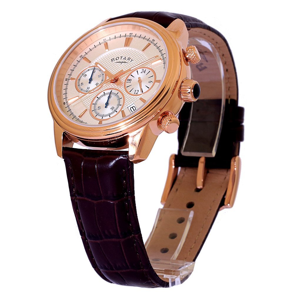 5d029c4901ad Rotary Men s Quartz Watch with White Dial Chronograph Display and Brown Leather  Strap GS02879 06  Amazon.co.uk  Watches