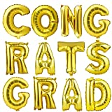 CONGRATS GRAD Gold Letter Mylar Foil Balloons Graduation Balloon for Graduation Decorations
