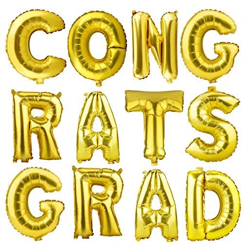 CONGRATS GRAD Gold Letter Mylar Foil Balloons Graduation Balloon for Graduation Decorations