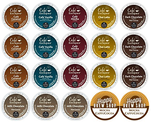 - 20-count CAFE ESCAPES Variety Sampler Pack, Single-Serve Cups for Single Cup Brewers