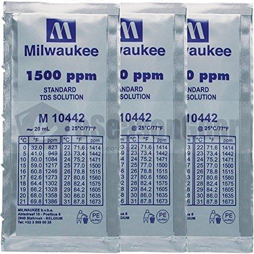 (3x 20ml 1500 ppm TDS Calibration Solution, milwaukee/m10442/hanna/hi70442)