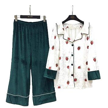 2c7ce7acf07 Otoño e invierno terciopelo de manga larga cálido pijamas patrón de fresa  lindo dulce pijamas cómodos  Amazon.es  Bricolaje y herramientas