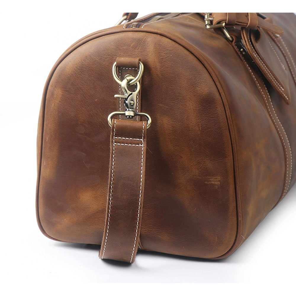 Color : Brown Ybriefbag Unisex Mens Leather Travel Bag Portable Outdoor Bag Casual Business Bag Sports Fitness Storage Bag Vacation
