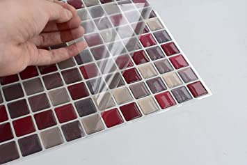 20x25cm Red Tile Sticker Tile Stickers Tiles Imitation Mosaic m5