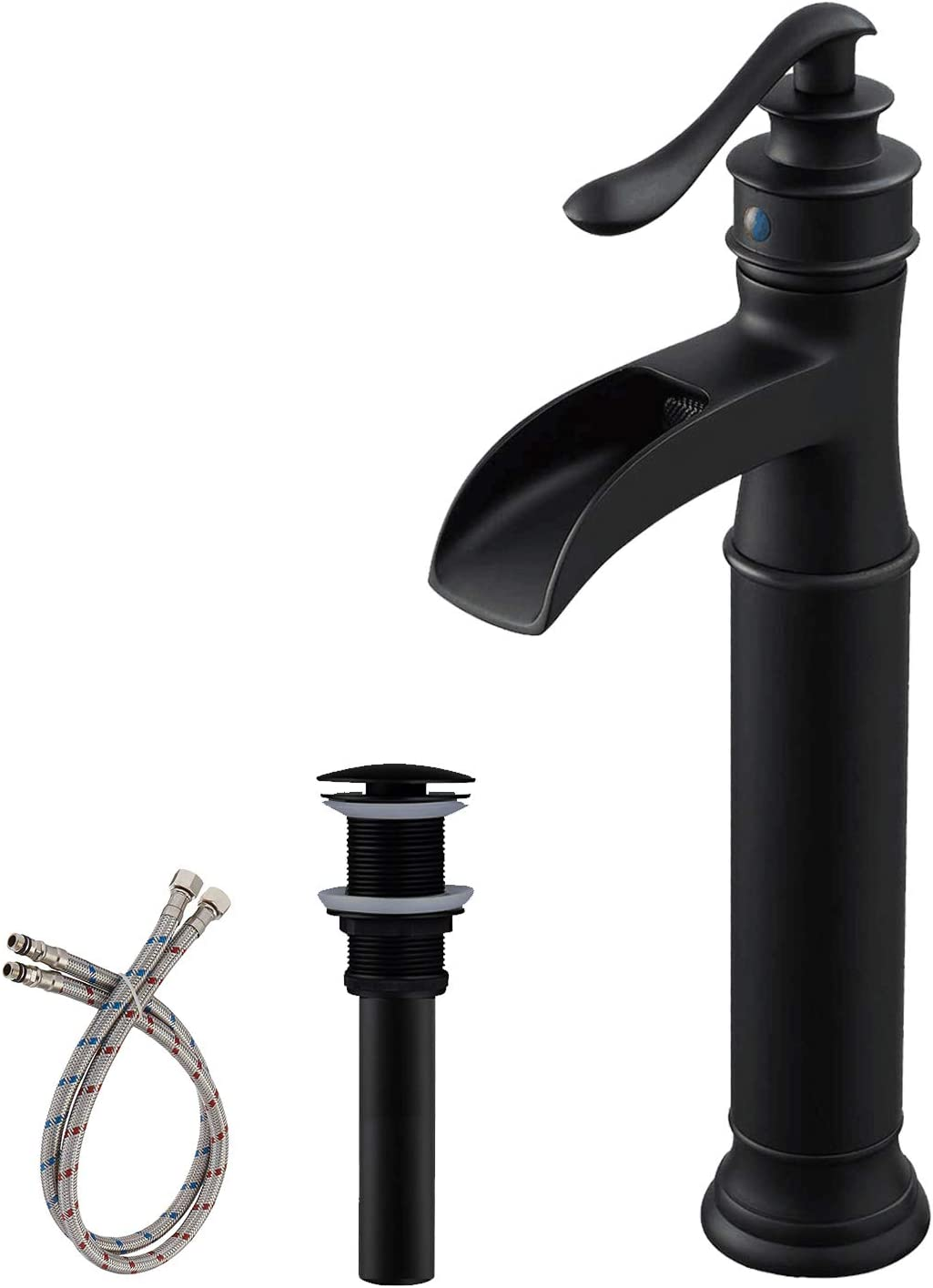 Bwe Black Bathroom Faucet With Drain Assembly And Supply Line Lead Free Single Handle One Hole Waterfall Vessel Sink Faucet Matte Black Lavatory Mixer Tap Deck Mount