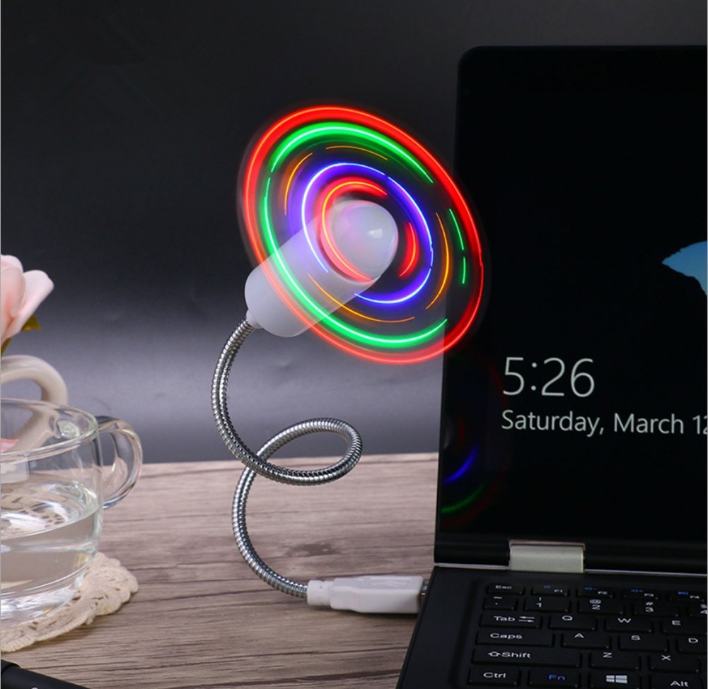 QTMY USB Mini LED RGB Fan Creative for PC Laptop Notebook Desktops New
