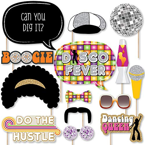 70's Theme Decorations (Big Dot of Happiness 70's Disco - 1970s Disco Fever Party Photo Booth Props Kit - 20)