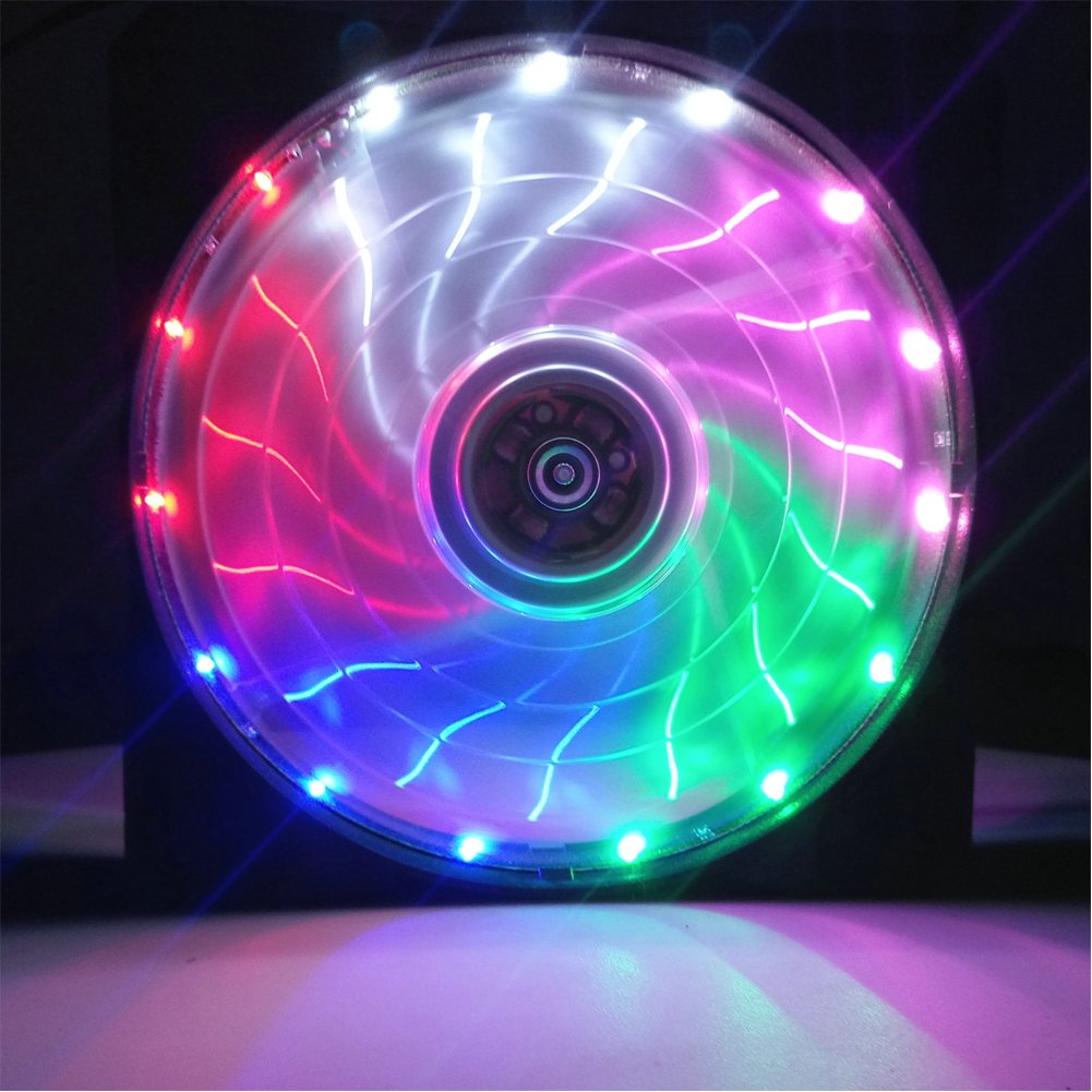 120mm PC Fan PC Case Cooling Fan 150LED Illuminating Super Silent Computer LED Cooler High Airflow CPU Cooling Fan(Multicolor Light)