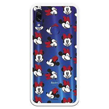 Carcasa Oficial de Disney Minnie Patrón Caras Clear para Xiaomi Redmi Note 7 - La Casa de Las Carcasas