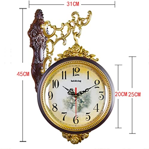 WEEDAY European American Style Antique Double-sided Living Room Wall Clock Large Mute Retro Fashion Pastoral Creative Modern Minimalist Personality Quartz Clock decoration Color   Brown