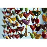 Floral Cotton Stuffed Small Birds in Vibrant Design Stringed with Beads Brass Bell Door Hanging Assorted Set of 2 Pcs
