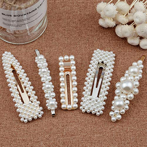 Warmfits Pearl Hair Clips Fashion Trendy Pearl Hair Accessories Gift for Women Girls - 5pcs Elegant Hair Styling Pearl Hair Pins Bridal Hair Barrettes for Wedding, Party and Daily Wearing (White)]()