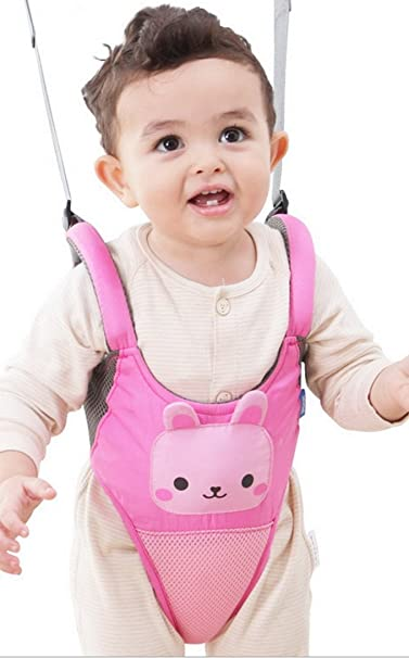 Happy Cherry - Arnés de Seguridad para Enseñar a Andar con Cinta Ajustable Estampados Animados Tirante Andador para Bebé Niños - Rosa