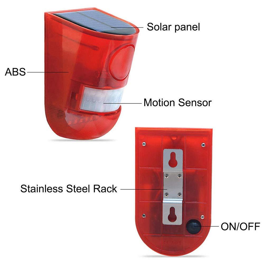 Zeerkeer Luz de Advertencia Solar,IP65 a Prueba de Agua PIR Carga Solar Sistema de Alarma de Seguridad con Sensor de Movimiento para el Hogar Villa Farm Apartment Patio al Aire Libre 2PCS